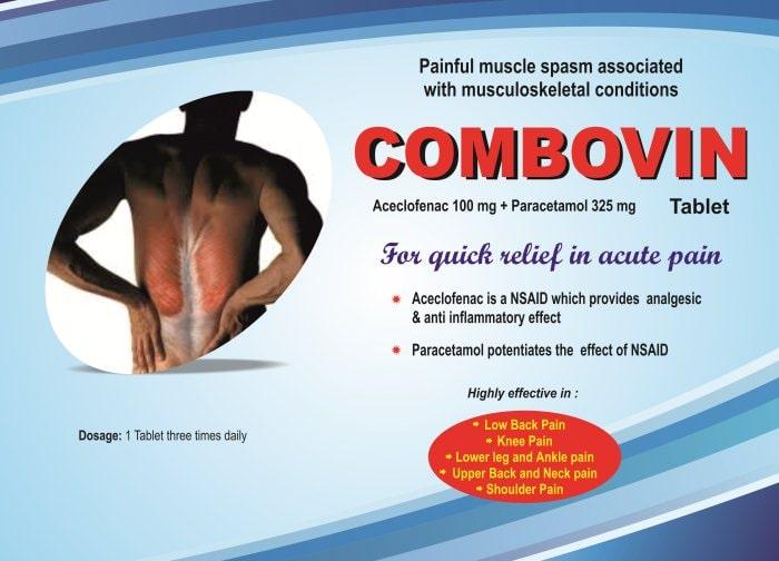 COMBOVIN-Tablet-Aceclofenac-100mg-Paracetamol-325mg-Vidhyasha-Pharmaceuticals-Best-Pharma-PCD-Franchise-Company