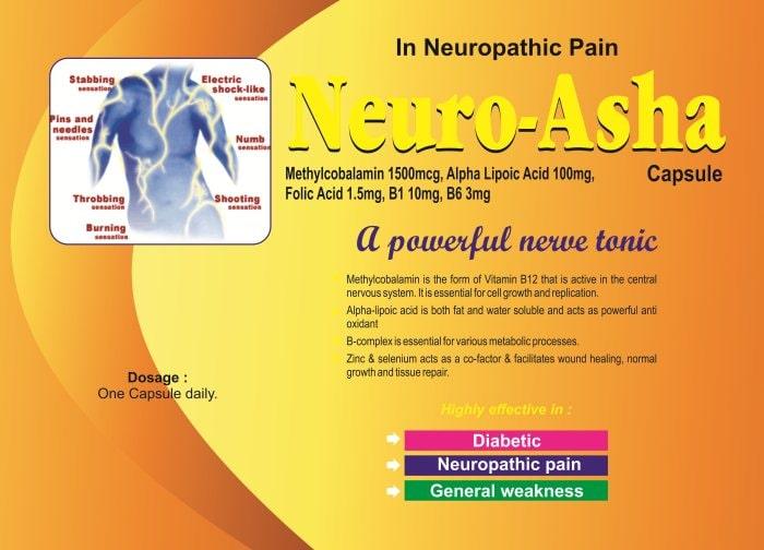 NEURO-ASHA-Capsule-Methylcobalamin-1500mcg-Alpha-Liopoic-Acid-100mg-Folic-Acid-1.5mg-B1-10mg-B6-3mg-Vidhyasha-Pharmaceuticals-Best-Pharma-PCD-Franchise-Company