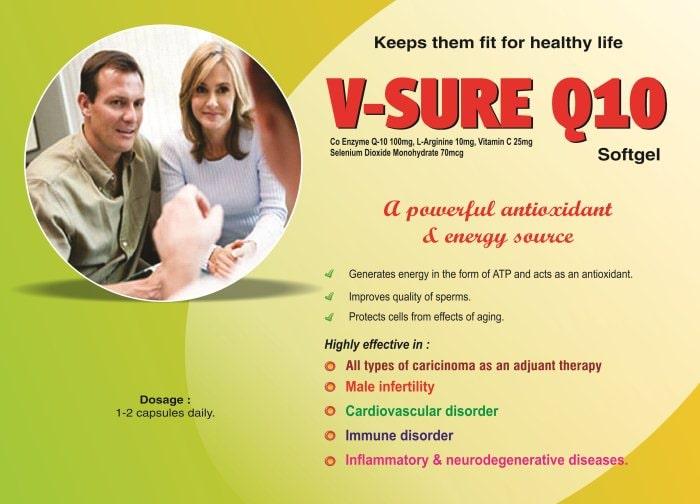 V-SURE-Q10-Softgel-Co-Enzyme-Q-10-100mg-L-Arginine-10mg-Vitamin-C-25mg-Selenium-Dioxide-Monohydrate-70mcg-Vidhyasha-Pharmaceuticals-Best-Pharma-PCD-Franchise-Company