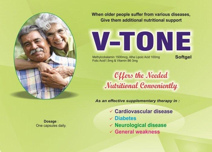 V-TONE-Softgel-Methylcobalamin-1500mcg-Alpha-Lipoic-Acid-100mg-Folic-Acid-1.5mg-Vitamin-B6-3mg-Vidhyasha-Pharmaceuticals-Best-Pharma-PCD-Franchise-Company