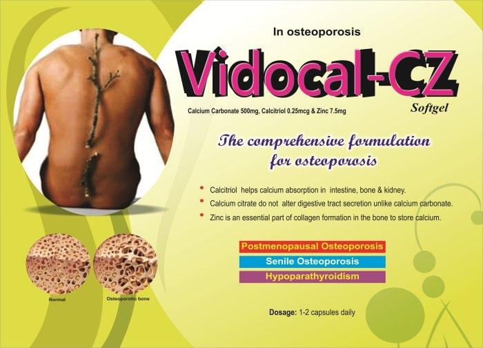 VIDOCAL-CZ-Softgel-Calcium-Carbonate-500mg-Calcitriol-0.25mcg-Zinc-7.5mg-Vidhyasha-Pharmaceuticals-Best-Pharma-PCD-Franchise-Company