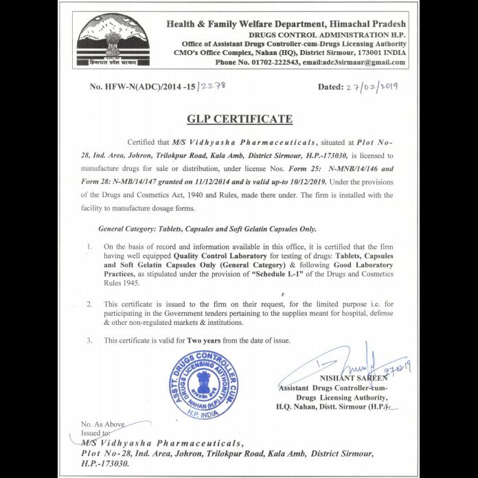 Vidhyasha-Pharmaceuticals-GLP