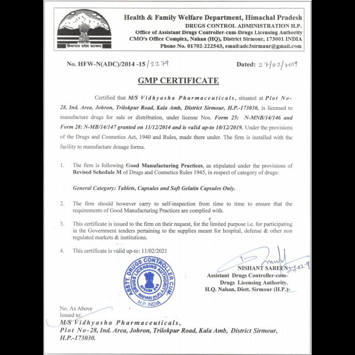Vidhyasha-Pharmaceuticals-GMP