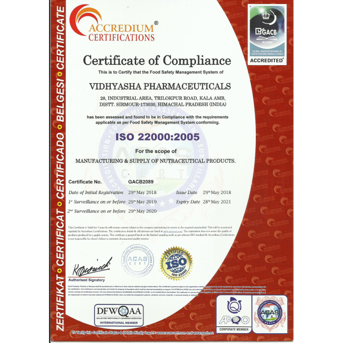 VIDHYASHA-PHRMACEUTICALS-ISO-22000-2005-Certificate